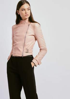 Emporio Armani Biker Jacket In Nappa Leather With Adjustable Belt At The Waist