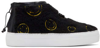 Joshua Sanders Black Fuzzy Smile High-Top Sneakers