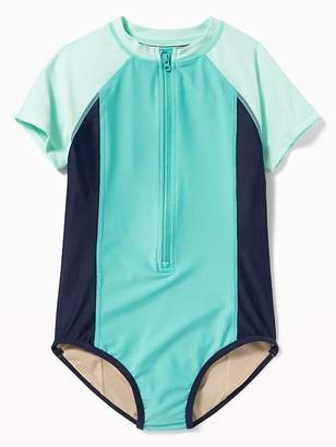 Old Navy Color-Blocked Rashguard Zip-Front Swimsuit for Girls