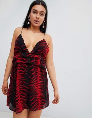 PrettyLittleThing Tiger Print Frill Shift Dress