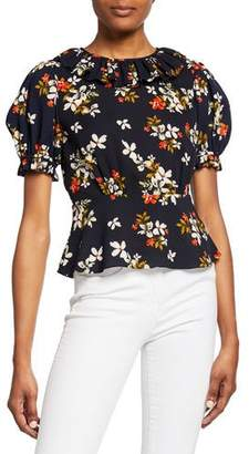 Jill Stuart Floral-Print High-Neck Short-Sleeve Ruffle Peplum Top