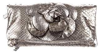 Chanel Python Camellia Clutch