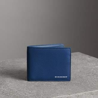 Burberry Grainy Leather Bifold Wallet, Purple