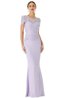 Goddiva Lavender Lace Bodice Cap Sleeve Maxi Dress