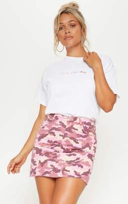 PrettyLittleThing Camo Denim Skirt