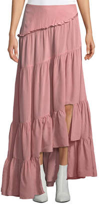 3.1 Phillip Lim Gathered Ruffle Tiered High-Low Full Shirt