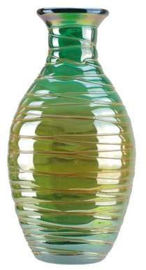 """Northlight 12.5"""" Teal Blue with Caramel Colored Swirls Hand Blown Decorative Glass Vase"""