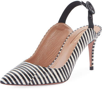 Aquazzura Yale 75 Striped Snake Slingback Pumps