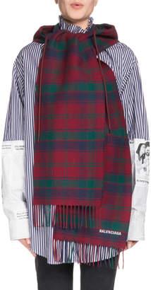 Balenciaga Tartan Hooded Wool Scarf, Red/Green