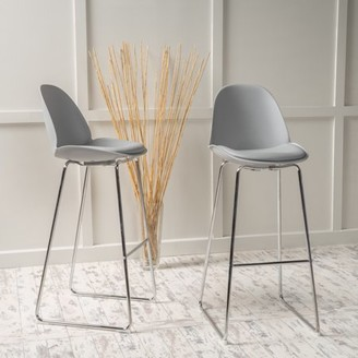 Noble House Yorshire Grey Bar Stool Chair (Set of 2)