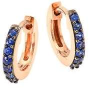 Astley Clarke Mini Halo Blue Sapphire& 14K Rose Gold Hoop Earrings
