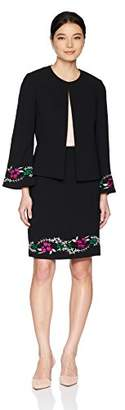 Tahari by Arthur S. Levine Women's Petite Collarless Open Embroidered Jacket and Skirt Suit