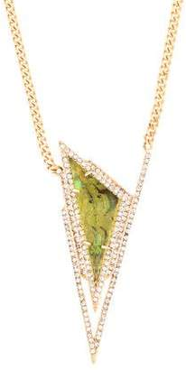 Alexis Bittar Abalone & Crystal Pyramid Spike Necklace