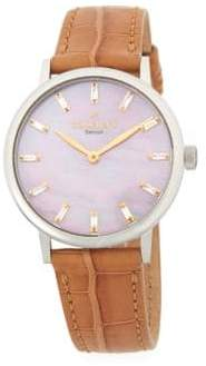 Classic Stainless Steel and Leather-Strap Watch