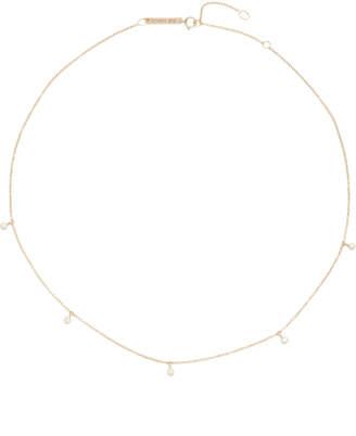 Chicco Zoe 14k Gold Five Diamond Chain Choker Necklace