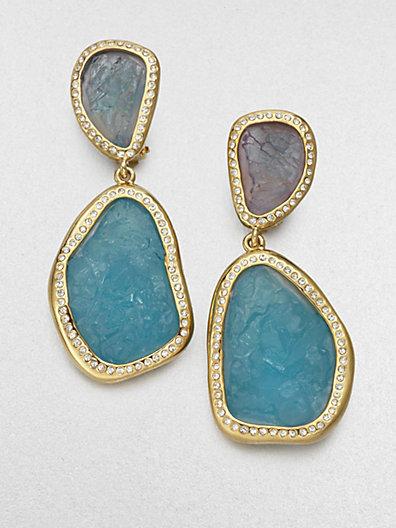 Kara Ross Kara by Textured Stone Drop Earrings