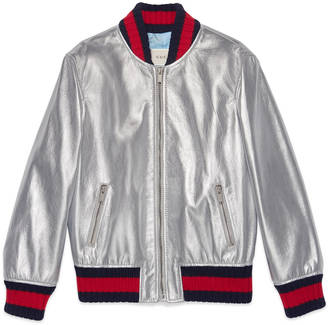 Children's metallic leather bomber jacket $1,980 thestylecure.com