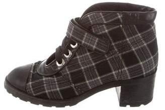 Chanel Plaid Cap-Toe Ankle Boots