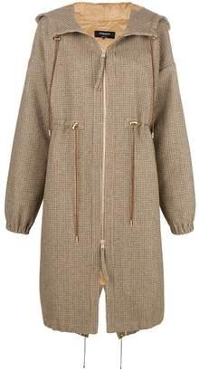 Rochas hooded check coat