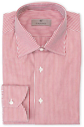 Canali Burgundy Stripe Modern Fit Dress Shirt