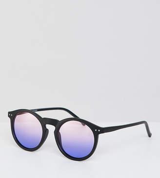 Asos Design DESIGN round sunglasses in matte black with purple grad lens