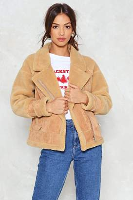 Nasty Gal Bear Witness to This Faux Suede Aviator Jacket