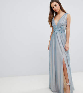 Little Mistress Petite Full Tulle Maxi Dress With Embroidery