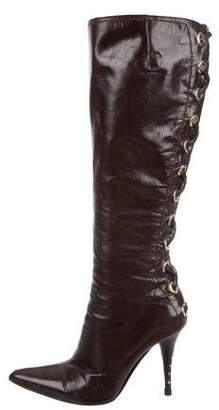 Saint Laurent High-Heel Lace-Up Boots