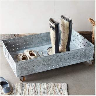 Laurel Foundry Modern Farmhouse Galvanized Steel Rolling Boot Tray Underbed