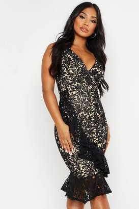 boohoo Lace Ruffle Hem Midi Dress