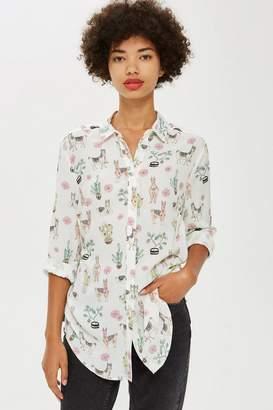 Topshop Llama Print Casual Shirt