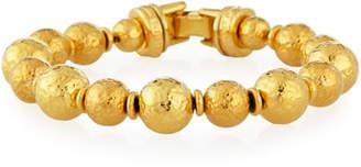 Jose & Maria Barrera Gold-Plated Hammered Bead Bracelet
