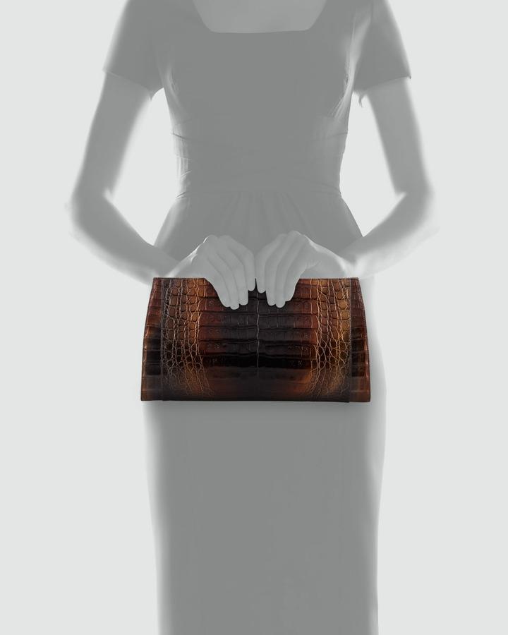 Nancy Gonzalez Gradient Metallic Crocodile Clutch Bag, Multi