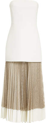 Dion Lee Strapless Bonded Crepe Net Pleated Dress