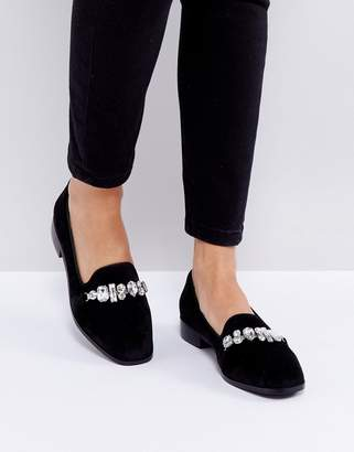London Rebel Jewelled Chain Slipper Shoe