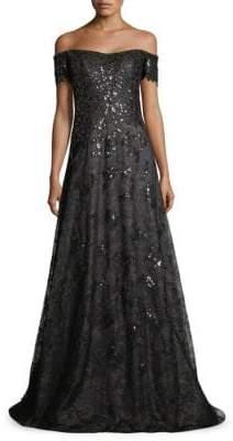 Rene Ruiz Off-The-Shoulder Sequin& Tulle Gown