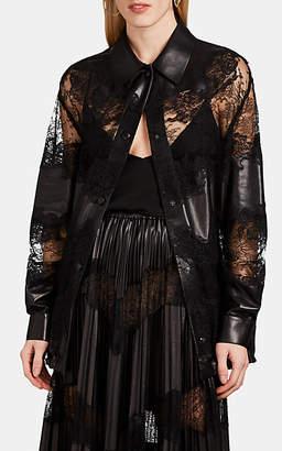 Valentino Women's Mixed-Media Drawstring Blouse - Black