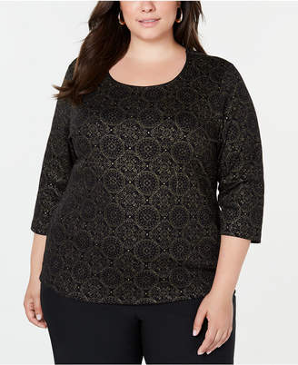 Karen Scott Plus Size Printed 3/4-Sleeve Top
