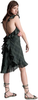 Max Studio ruffled shoulder linen plaid dress