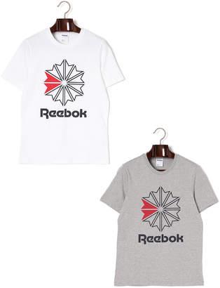 Reebok (リーボック) - Reebok ロゴプリント クルーネック 半袖トップ 2色セット ホワイト&ミディアムグレイヘザー j/l
