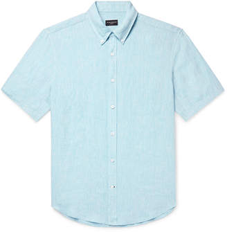 Club Monaco Slim-Fit Button-Down Collar Slub Linen-Chambray Shirt - Men - Blue