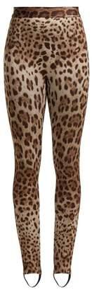 Dolce & Gabbana - Leopard Print Stretch Jersey Stirrup Leggings - Womens - Leopard