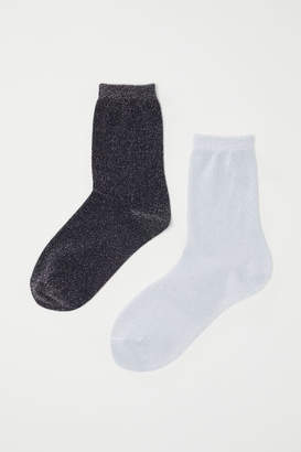 H&M 2-pack Glittery Socks - Black
