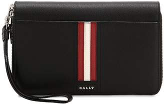 Bally Striped Saffiano Leather Zip Wallet