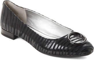 Anne Klein Black Olivet Stripe Leather Flats