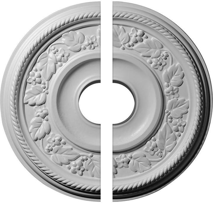 Ekena Millwork 16-1/8 in. O.D. x 3-1/2 in. I.D. x 3/4 in. P Tyrone Ceiling Medallion (2-Piece)