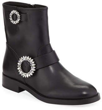 MICHAEL Michael Kors Viola Embellished Leather Moto Boots