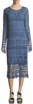 XCVI Fonda Crochet Long-Sleeve Midi Dress, Plus Size