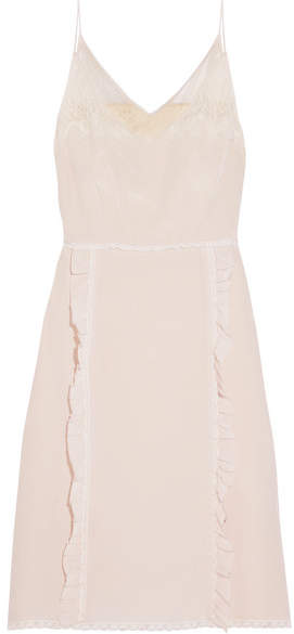 Prada - Ruffled Chantilly Lace-trimmed Silk Crepe De Chine Dress - Neutral