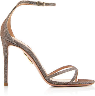 Aquazzura Purist Glittered Leather Sandals